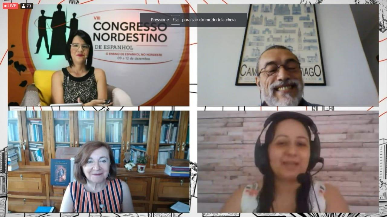 Clausura del VIII Congresso Nordestino de Espanhol. Conferencias de María Rosa Lojo y Antonio Esteves con la coordinación de la Prof. Isis Milreu