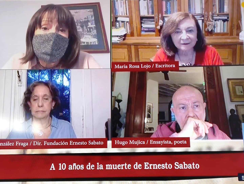 """Homenaje a Ernesto Sábato en """"Los siete locos"""". Con Cristina Mucci, María Rosa Lojo, Elvira González Fraga y Hugo Mujica, Televisión Pública, 8 de mayo"""