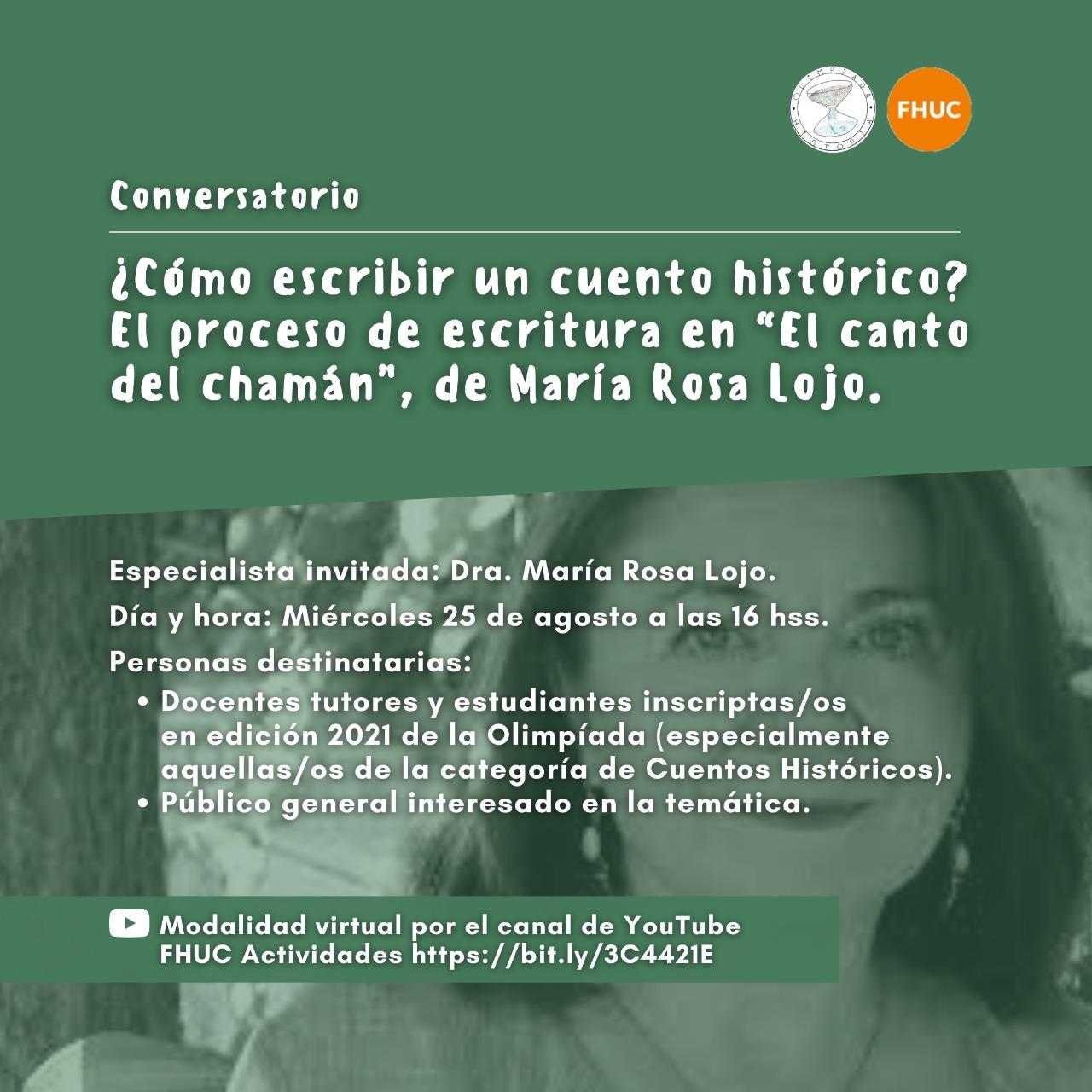 María Rosa Lojo en la Olimpíada de Historia de la Argentina. Conversatorio: ¿Cómo escribir un cuento histórico?